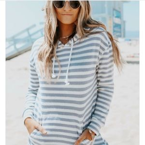 Pink Republic Gray & White Striped Pullover Hoodie
